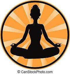 Meditating - Vector illustration of Silhouette meditating...