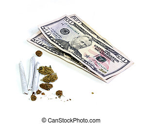 money with joints and pot - A stack of three 50 dollar US...