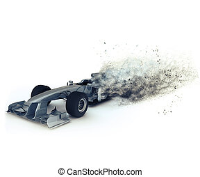 3D Generic racing car with speed effect - 3D render of a...