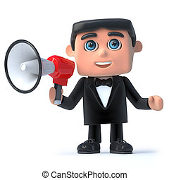 3d Bow tie spy makes an announcement - 3d render of a man in...