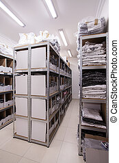 Stillages in the storeroom - Vertical view of stillages in...