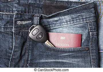 passport in jean pocket with car key