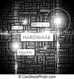 HARDWARE. Word cloud concept illustration. Wordcloud...