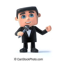 3d Bow tie spy loves to sing into his microphone - 3d render...