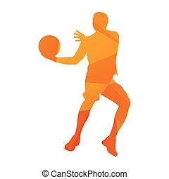 Abstract orange geometrical vector basketball player