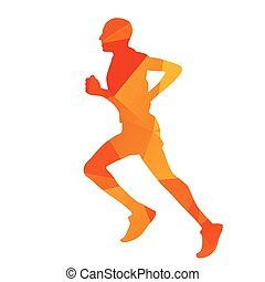 Abstract geometrical orange running man