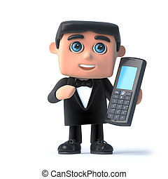 3d Bow tie spy chats on his mobile phone - 3d render of a...