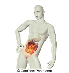 3D male medical figure with fire effect in stomach with...