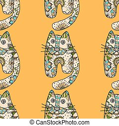 funny cats - Multicolored funny hand drawn cats vector...
