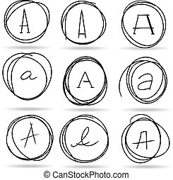 scribble circles or highlights with A letters, vector