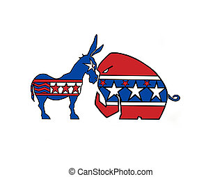 DONKEY VS ELEPHANT - Dems. VS Repub., show down in town