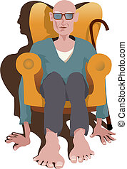 Pensioner - Old man sitting in armchair without legs....