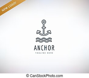 Anchor vector logo icon Sea, vintage or sailor and sea...