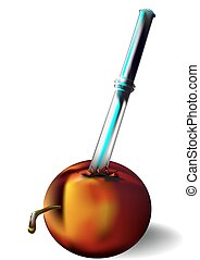 Nectarine and knife - Nectarine ripe and juicy and the knife...