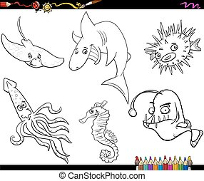 sea life cartoon coloring page