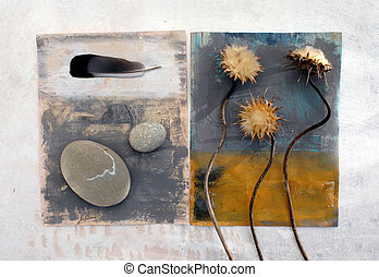 Still Life 1 - Thistles, feather, and stones photographed on...