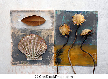 Still Life - Natural still life with painted surfaces. Conch...