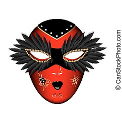 carnival red black mask - white background and the large...