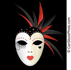 carnival dark mask - dark background and the large white-red...