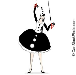hand puppet of Pierrette - black and white fantasy of hand...