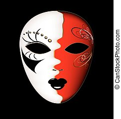 carnival white-red mask - dark background and the large...