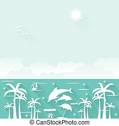 Summer holiday flat tropical vector elements