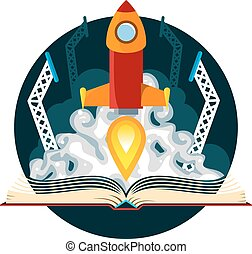 Sci-Fi Book with Rocket Launch - Book with a sci-fi scene of...
