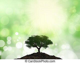 3D tree on a mound of soil against a bokeh background