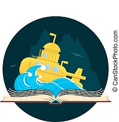 Sci-Fi Book with Submarine - Book with a sci-fi scene with a...