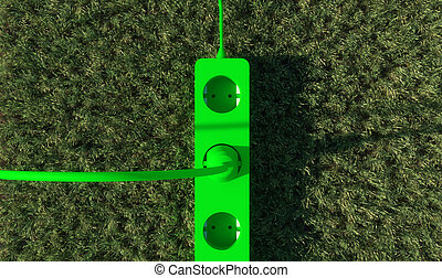 green energy socket and grass