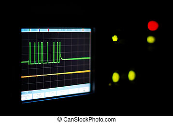 Oscilloscope screen - Close-up of the oscilloscope screen in...