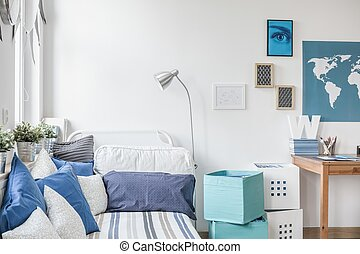 Designed teen boy bedroom - White and blue designed teen boy...