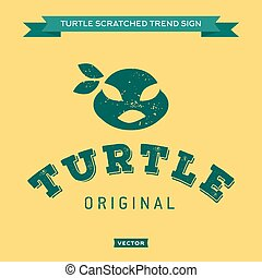Turtle mouth eye bandages, green, muzzle, face, logo, icon,...