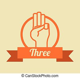 Hand sign design over yellow background, vector illustration