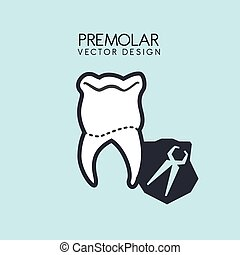 dental care design over blue background, vector illustration
