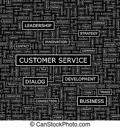 CUSTOMER SERVICE. Seamless pattern. Word cloud illustration.
