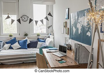 White room with blue details