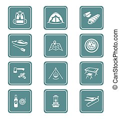 Camping icons || TEAL series - Camping equipment and tools...
