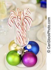 Candy canes and Christmas ornaments