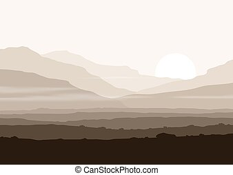 Lifeless landscape with huge mountains over sun Vector...