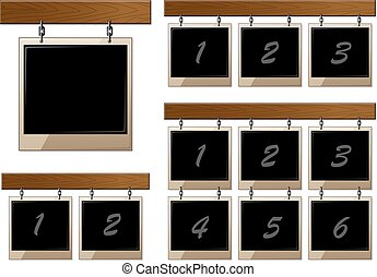 Set of wooden boards with empty frames