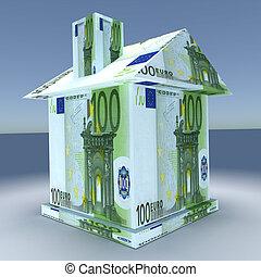 3D, casa, De, a, mone, Euro,