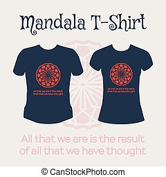 Vector Mandala T-Shirt - Asian religious circular ornament...