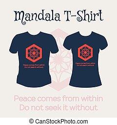Vector Mandala T-Shirt - Asian religious circular ornament....