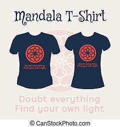 Vector Mandala T-Shirt - Asian religious circular ornament....