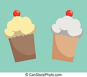 Sweet food design over blue background, vector illustration