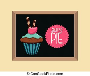 Sweet food design over pastel background, vector...