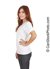 young beautiful female with white t-shirt side view isolated...