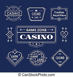 Casino vector logo icons set Poker, cards or game and money...