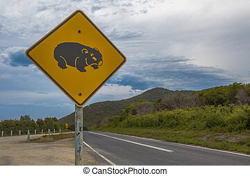 Wombat Crossing - Close up of warning sign for wombat...